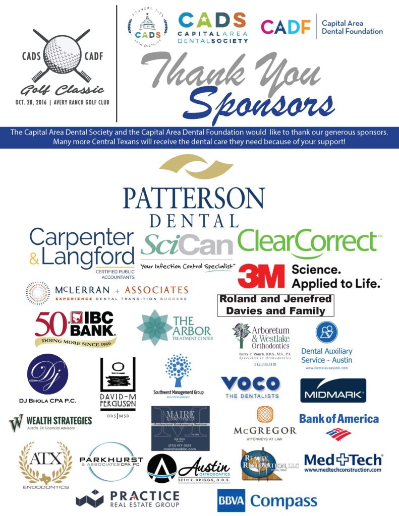 Thank You Sponsors - CADS / CADF Golf Classic 2016